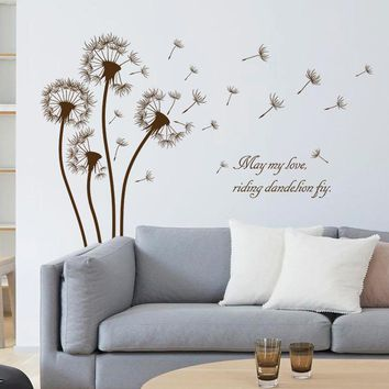 dandelion wall sticker brown flower decals girls home bedroom living room window decor plants vinyl wallpaper DIY removal