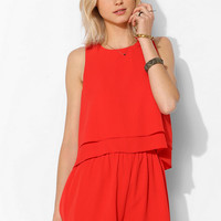 Pins And Needles Textured Ruffle-Top Romper - Urban Outfitters