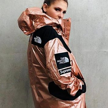 Supreme X The North Face Fashion Cool Metal Color Hooded Cardigan Jacket Coat Windbreaker Sportswear Pink