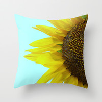 Sunflower Mint Throw Pillow by RichCaspian