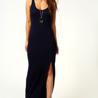 Cameron Scoop Neck Front Split Maxi Dress