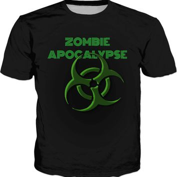 Zombie Apocalypse is comming? Green biohazard warning, toxic fallout symbol