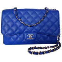 Rare 2010 Chanel 10c Bleu Roi Caviar Jumbo Shoulder Bag