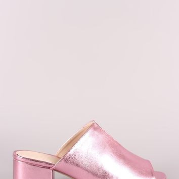 Qupid Crinkled Metallic Slit Blocked Mule Heel