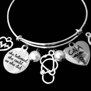 CNA Jewelry EKG Nurse She Believed She Could So She Did Adjustable Bracelet Expandable Silver Charm Bangle Stethoscope One Size Fits All Gift