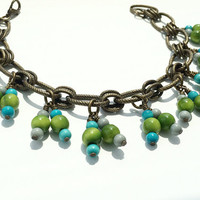 Tagua Nut Jewelry, Summer Charm Bracelet, Turquoise Jewelry, Tagua Anklet