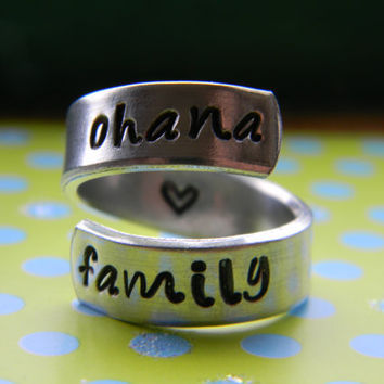 ohana family lilo and stitch inspired twist aluminum ring heart inside