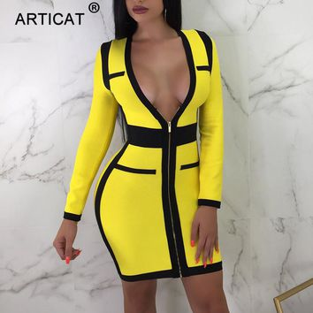 Articat Yellow Deep V Neck Sexy Bodycon Dress Women Long Sleeve Zipper Short Bandage Winter Dress Casual Mini Party Dress