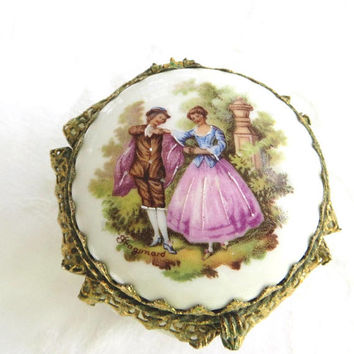 Cameo Jewelry Box, Vintage Footed Jewelry Casket, French Style Figural Vanity Box