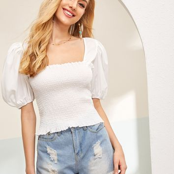 Tie Back Puff Sleeve Shirred Blouse