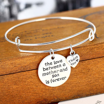 Love Between Mother And Son Heart Family Gifts Bracelet Mother's Day