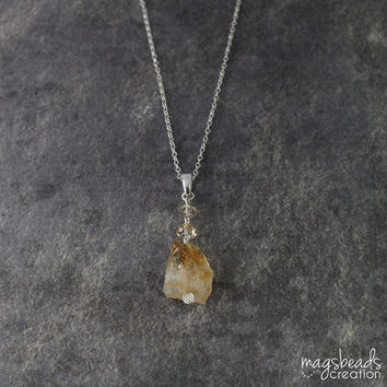Raw Citrine Necklace. Rough Gemstone, Honey Yellow Stone, Autumn Jewelry, Gift For Her, Handcrafted, Chic, Everyday Necklace, Jewellery