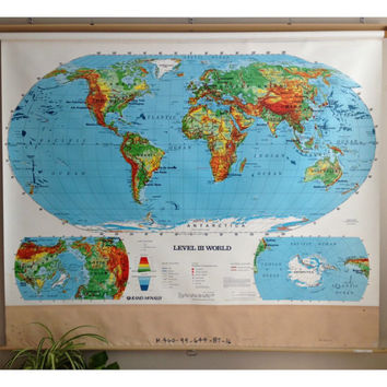 Vintage World Map Pull Down Wall Hanging