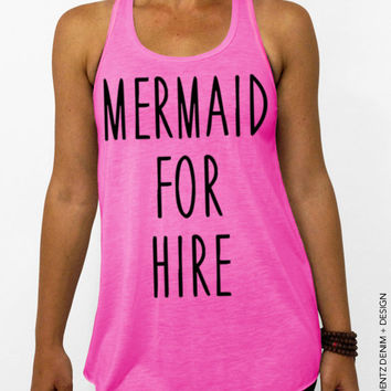 Mermaid For Hire Tank Top - Pink Flowy Tank Top