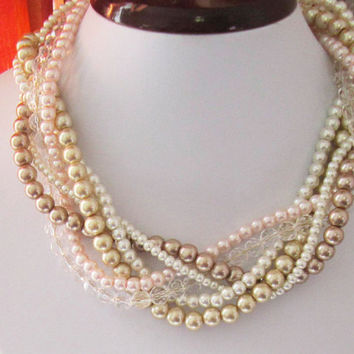 Wedding Necklace, Bridesmaid Necklace, Bridal Statement, Twisted, Braided Multistrand Pearl Necklace in Ivory, Blush Pink and Gold Champagne