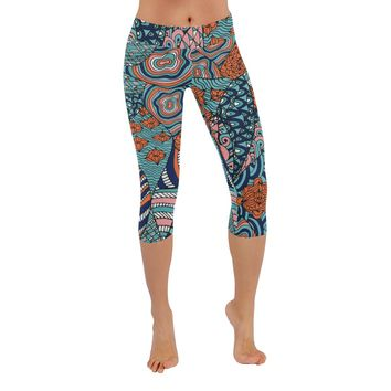 Psychedelic Art Knee Length Yoga Capri Leggings