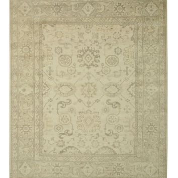 EORC Hand-knotted Wool Ivory Traditional Oriental Monochrome Oushak Rug