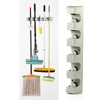 5 Position Kitchen Storage Mop Broom Holder Tool Plastic Wall Mounted PTSP