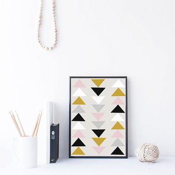Tribal Art Print, Geometric Print, Triangle art, triangle pattern, abstract printable wall art printable download, boho decor, dorm wall art