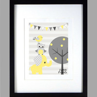 Gray and Yellow Elephant Owl Bird, Modern Baby Room, CUSTOMIZE YOUR COLORS 8x10 Prints, nursery decor nursery print art baby room decor