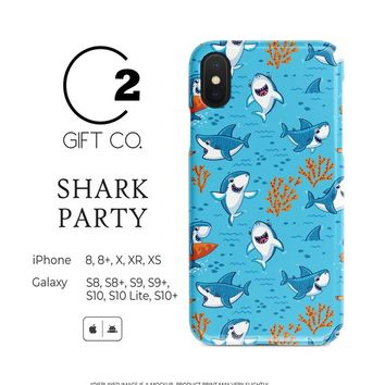 Blue Shark Party - Heavy Duty Shock Absorption Phone Case For Iphone X, Xr, Xs, Xs Max, 8, 8+ & Samsung Galaxy S10, S10+, S9, S9+, S8, S8+