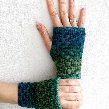 Hand knit  fingerless mittens,  Boho knit fingerless gloves, Women's fingerless gloves, Handmade mittens gloves