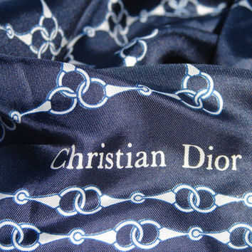Vintage CHRISTIAN DIOR Silk Scarf Dark Navy Deep Blue Gorgeous Always Fashionable Accessory Nautical meets Equestrian Design Beautiful White