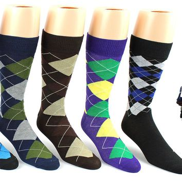 Dd Mens Argyle Pattern Socks - Size 10-13(Pack Of 24)