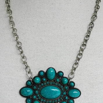 RePurposed Boho Faux Turquoise Pewter Metal Chain Big Pendant Necklace