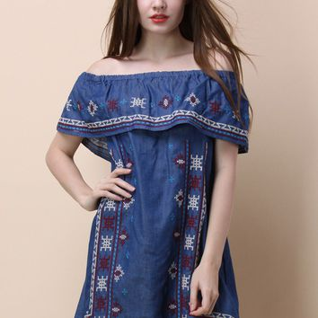 Folksy Cross-stitch Off-shoulder Dress in Chambray