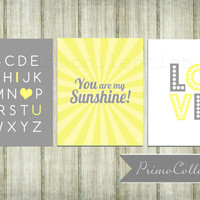 Nursery Wall Art Prints / set of 3 / you are my sunshine / love / alphabet / 8x10 inch / yellow and gray / baby girl / girl's room decor