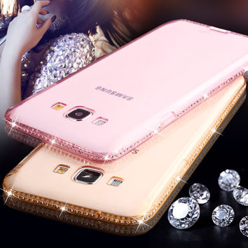 Phone Case For Samsung Galaxy J5 J7 A8 A3 A5 A7 2016 G530 Note 3 4 5 S5 S6 Edge Plus S7 Edge Rhinestone Soft TPU Clear Covers