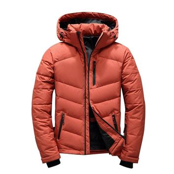 NEW winter down Hooded ski jacket Men Multiple pockets thicken 80% White Duck Down Jackets Down Snow Overcoat male clothing