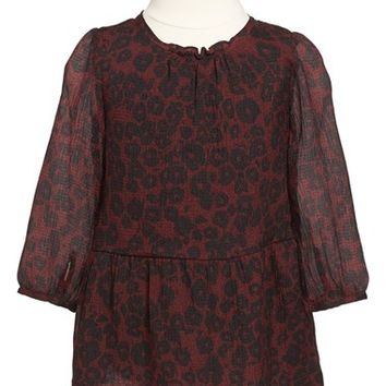 Toddler Girl's Burberry 'Mini Tais' Drop Waist Silk Dress,