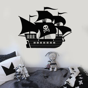 Vinyl Wall Decal Pirate Ship Kids Room Interior Decoration Stickers Unique Gift (ig4723)