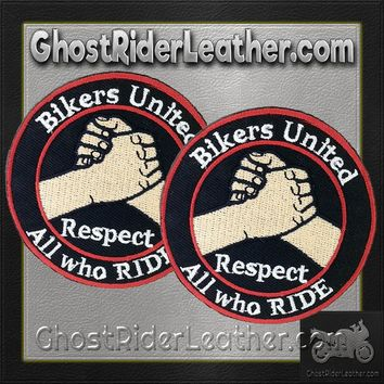 Two Bikers United Respect All Who Ride Patches / SKU GRL-PAT-D575-DL