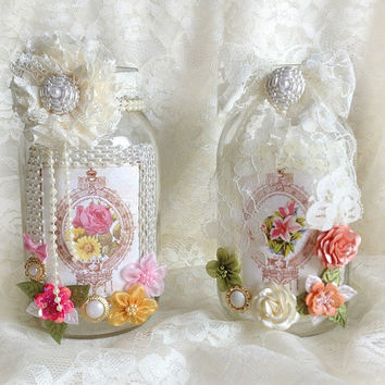 shabby chic mason jar vases decorated with lace and flowers, home decor, bridal shower, tea party, wedding decoration