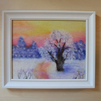 "Wool Painting ""Winter landscape"", Wool Felting, Wool Art, Felt Painting, Fiber Art, Home Decor, Wall Art, Framed Wall Art, Handmade Art,"