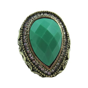 Gothic Steampunk Chunky Colored Faceted Stone Ring