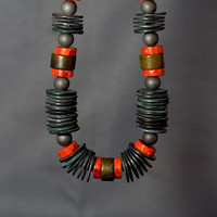 Red Coral, Shell & Hematite necklace
