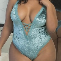 Sexy Plus Size Crushed Velvet Teddy with Lace Up Plunge Neckline and Back Keyhole