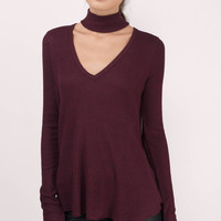Emily Ribbed Choker Long Sleeve Top