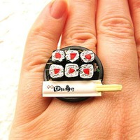 Sushi Ring Tuna Sushi And Chopsticks Miniature Food Jewelry