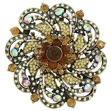 *Round Rhinestone & Gems Brooch- Brown