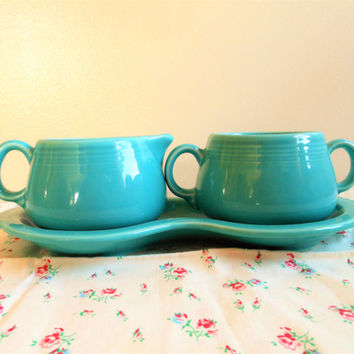 Turquoise Fiesta Cream and Sugar Set, Figure Eight Fiesta Ware Creamer and Sugar Bowl, Fiestaware Turquoise, Aqua Cream and Sugar