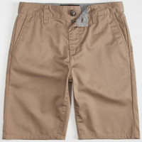 Blue Crown Boys Slim Chino Shorts Dark Khaki  In Sizes