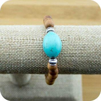 Sandalwood Yoga Jewelry Bracelet with Turquoise Magnesite