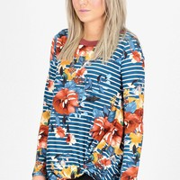 Get Twisted Mixed Prints Floral + Stripes Sudette L/S {Teal}