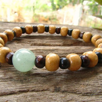 Jade & Wooden Beaded Men's Stretchy Bracelet / Hippie Surfer Beach Festival Party Wristband / Men's Jewelry