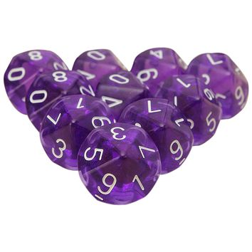 PROMOTION 10-Dices D10 Ten Sided Gem Dice Die for RPG Dungeons&Dragons Board Table Games Transparent Purple